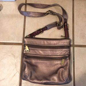 Fossil Metallic gold leather Crossbody bag